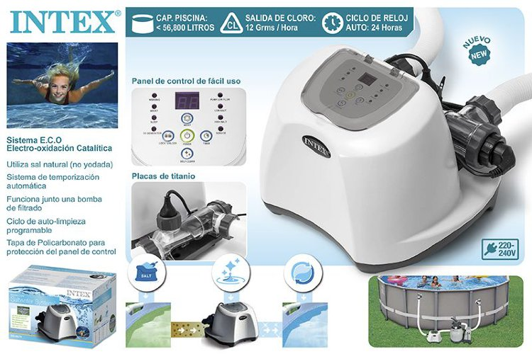 Хлоргенератор Salwater System Intex 26670 для бассейнов объемом до 56800 л.